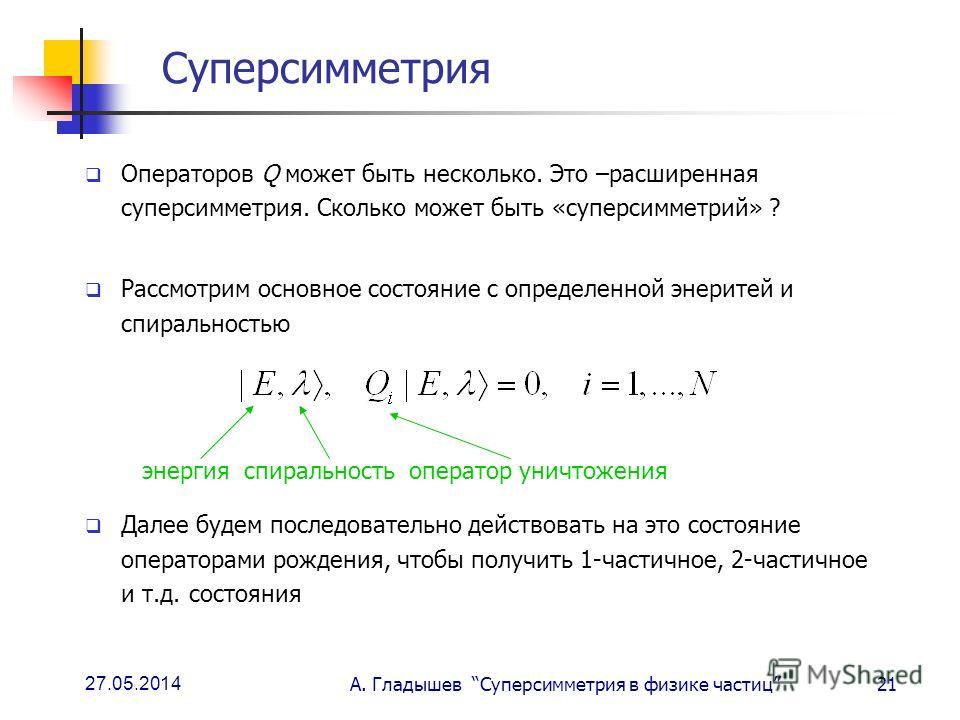 27.05.2014 А. Гладышев Суперсимметрия в физике частиц21 Суперсимметрия Операторов Q может быть несколько. Это –расширенная суперсимметрия. Сколько может быть «суперсимметрий» ? Рассмотрим основное состояние с определенной энеритей и спиральностью Дал
