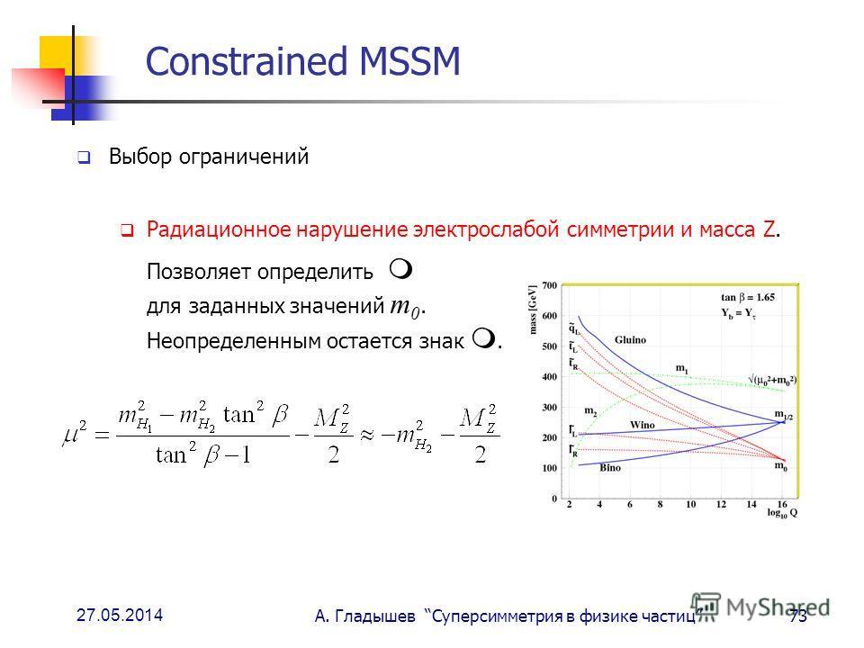 27.05.2014 А. Гладышев Суперсимметрия в физике частиц73 Constrained MSSM Выбор ограничений Радиационное нарушение электрослабой симметрии и масса Z. Позволяет определить для заданных значений m 0. Неопределенным остается знак.