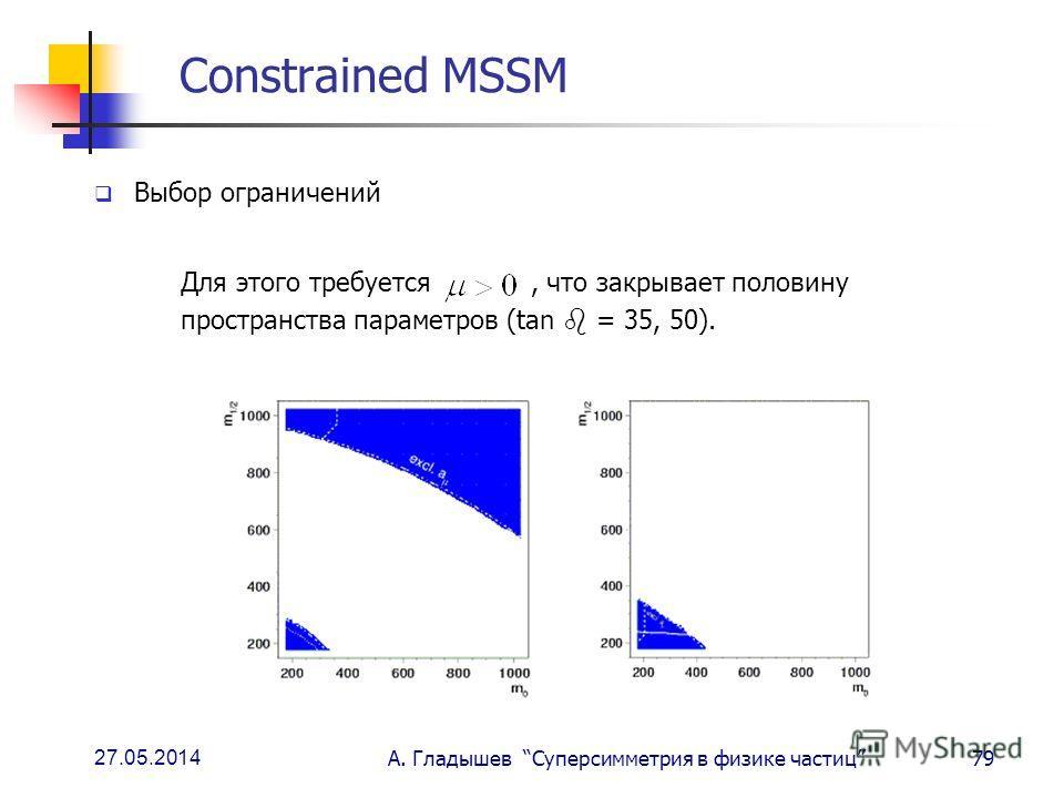 27.05.2014 А. Гладышев Суперсимметрия в физике частиц79 Constrained MSSM Выбор ограничений Для этого требуется, что закрывает половину пространства параметров (tan = 35, 50).