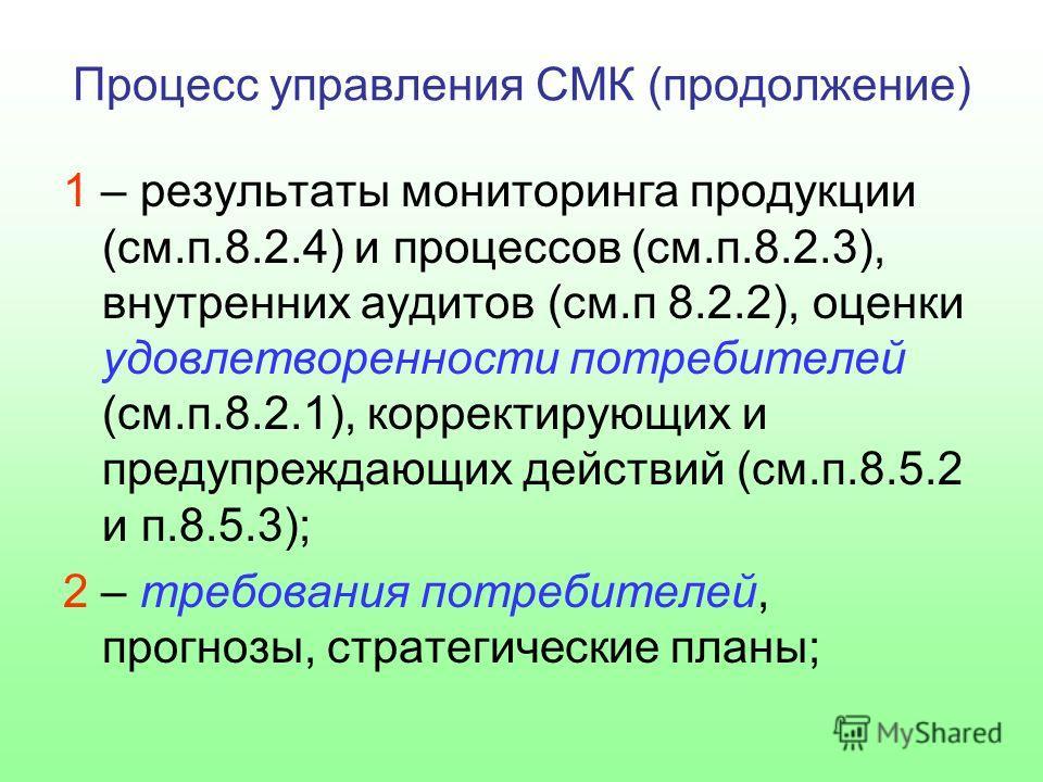 Процесс управления СМК (продолжение) 1 – результаты мониторинга продукции (см.п.8.2.4) и процессов (см.п.8.2.3), внутренних аудитов (см.п 8.2.2), оценки удовлетворенности потребителей (см.п.8.2.1), корректирующих и предупреждающих действий (см.п.8.5.