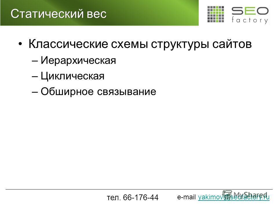 e-mail yakimov@seofactory.ruyakimov@seofactory.ru Статический вес Классические схемы структуры сайтов –Иерархическая –Циклическая –Обширное связывание тел. 66-176-44