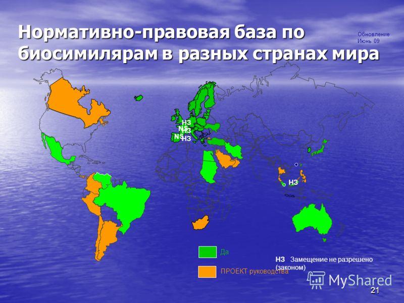 12% NS Нормативно-правовая база по биосимилярам в разных странах мира НЗ Замещение не разрешено (законом) Да ПРОЕКТ руководства NS НЗ Обновление Июнь 09 НЗ НЗ НЗ 21