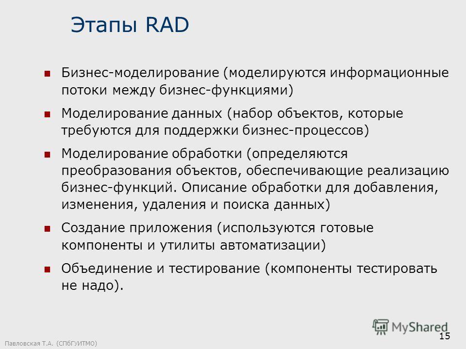 Павловская Т.А. (СПбГУИТМО) 15 Этапы RAD Бизнес-моделирование (моделируются информационные потоки между бизнес-функциями) Моделирование данных (набор объектов, которые требуются для поддержки бизнес-процессов) Моделирование обработки (определяются пр