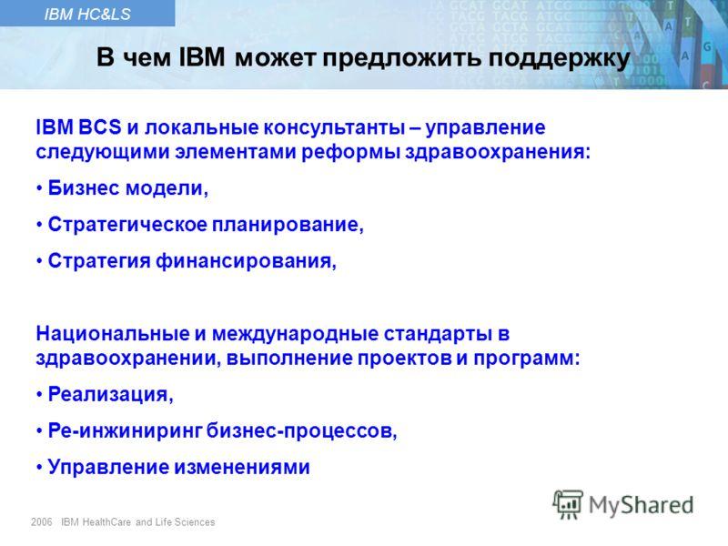 2006 IBM HealthCare and Life Sciences IBM HC&LS IBM BCS и локальные консультанты – управление следующими элементами реформы здравоохранения: Бизнес модели, Стратегическое планирование, Стратегия финансирования, Национальные и международные стандарты