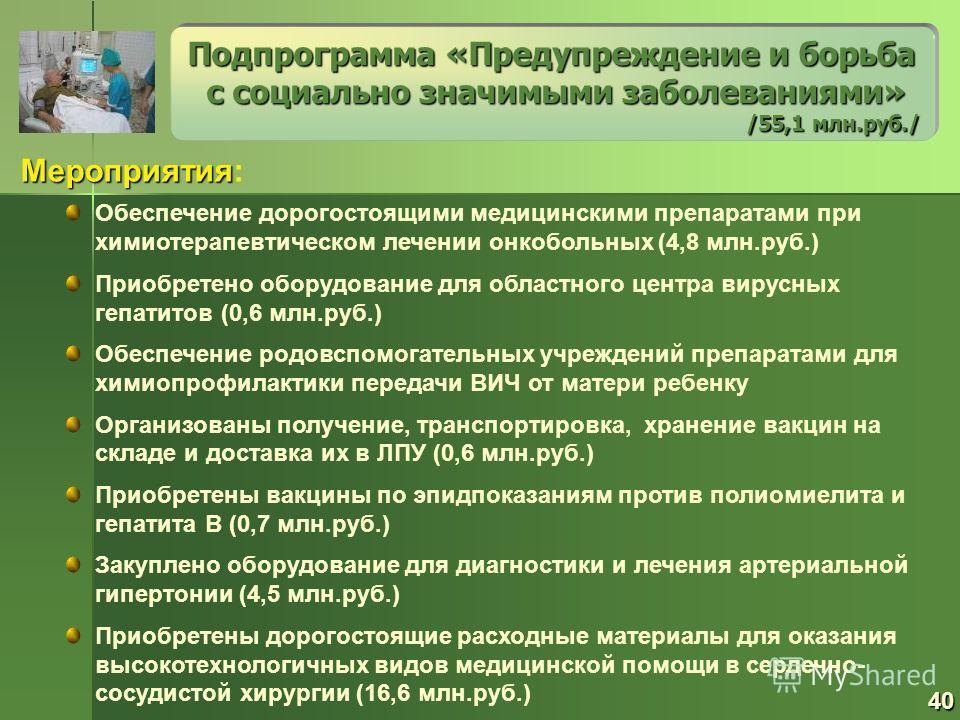 Мероприятия Мероприятия: Подпрограмма «Предупреждение и борьба с социально значимыми заболеваниями» с социально значимыми заболеваниями» /55,1 млн.руб./ Обеспечение дорогостоящими медицинскими препаратами при химиотерапевтическом лечении онкобольных