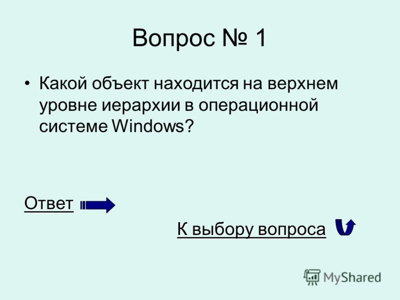 Вопрос 1 Какой объект находится на верхнем уровне иерархии в операционной системе Windows?Ответ К выбору вопроса К выбору вопроса