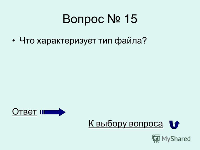 Вопрос 15 Что характеризует тип файла?Ответ К выбору вопроса К выбору вопроса