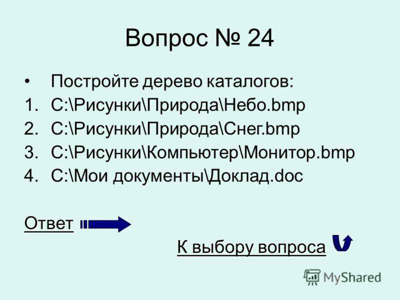 Вопрос 24 Постройте дерево каталогов: 1.С:\Рисунки\Природа\Небо.bmp 2.С:\Рисунки\Природа\Снег.bmp 3.С:\Рисунки\Компьютер\Монитор.bmp 4.С:\Мои документы\Доклад.docОтвет К выбору вопроса К выбору вопроса