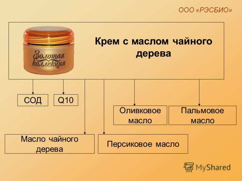 ООО «РЭСБИО» Крем c маслом чайного дерева СОД Пальмовое масло Оливковое масло Q10 Масло чайного дерева Персиковое масло