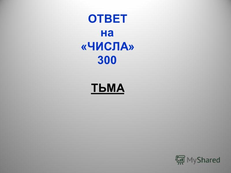 ОТВЕТ на «ЧИСЛА» 300 ТЬМА