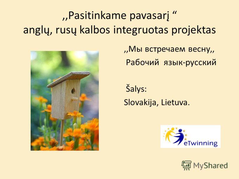 ,,Pasitinkame pavasarį anglų, rusų kalbos integruotas projektas,,Мы встречаем весну,, Pабочий язык-русский Šalys: Slovakija, Lietuva.