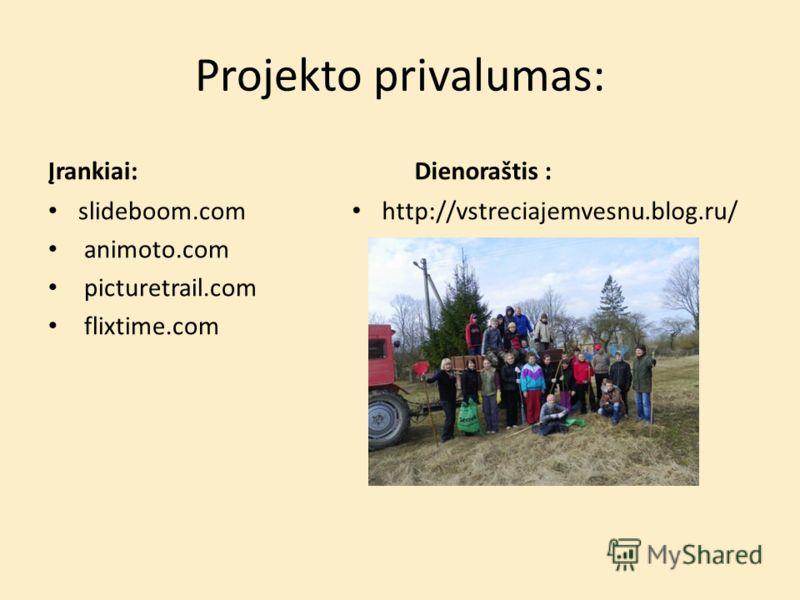 Projekto privalumas: Įrankiai: slideboom.com animoto.com picturetrail.com flixtime.com Dienoraštis : http://vstreciajemvesnu.blog.ru/