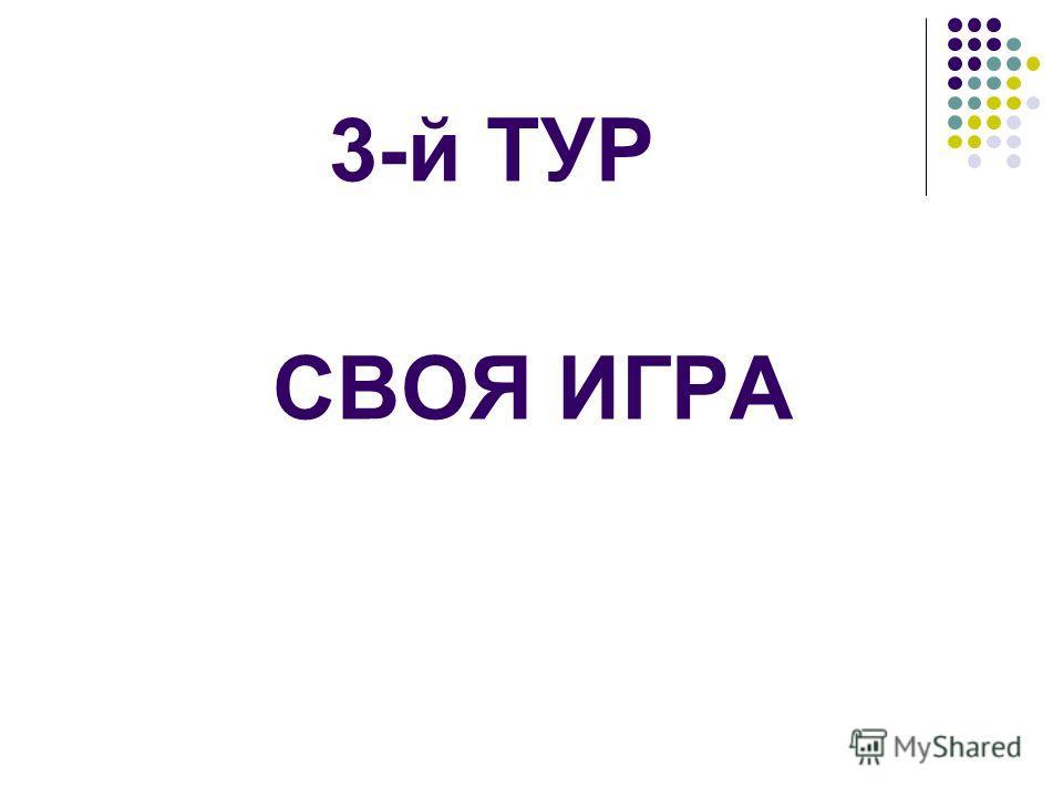 3-й ТУР СВОЯ ИГРА
