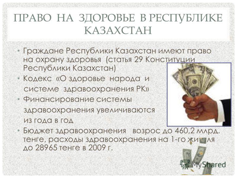 ПРАВО НА ЗДОРОВЬЕ В РЕСПУБЛИКЕ КАЗАХСТАН Граждане Республики Казахстан имеют право на охрану здоровья (статья 29 Конституции Республики Казахстан) Кодекс «О здоровье народа и системе здравоохранения РК» Финансирование системы здравоохранения увеличив