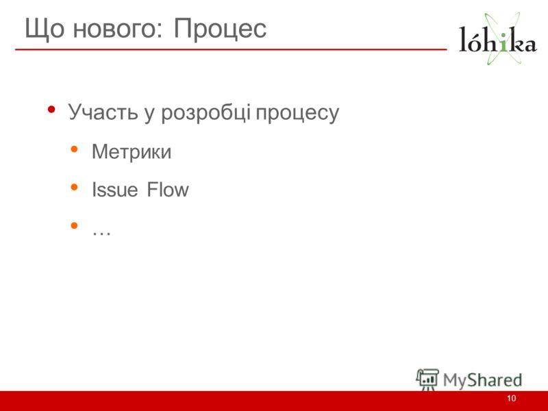 Що нового: Процес Участь у розробці процесу Метрики Issue Flow … 10