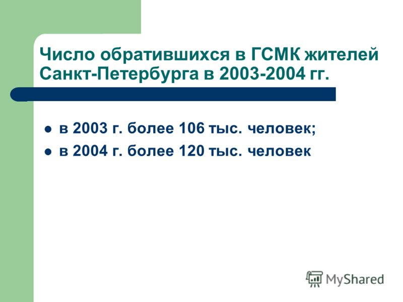 Число обратившихся в ГСМК жителей Санкт-Петербурга в 2003-2004 гг. в 2003 г. более 106 тыс. человек; в 2004 г. более 120 тыс. человек