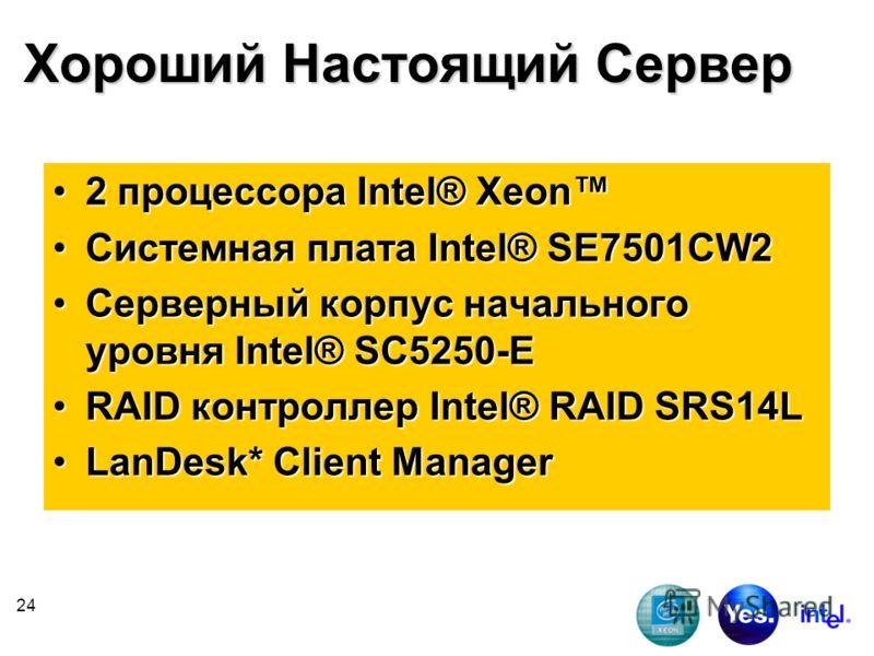 24 Хороший Настоящий Сервер 2 процессора Intel® Xeon2 процессора Intel® Xeon Системная плата Intel® SE7501CW2Системная плата Intel® SE7501CW2 Серверный корпус начального уровня Intel® SC5250-EСерверный корпус начального уровня Intel® SC5250-E RAID ко