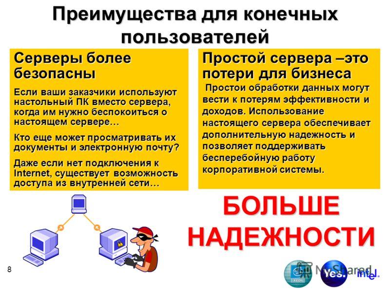 8 Преимущества для конечных пользователей Серверы более безопасны Если ваши заказчики используют настольный ПК вместо сервера, когда им нужно беспокоиться о настоящем сервере… Кто еще может просматривать их документы и электронную почту? Даже если не