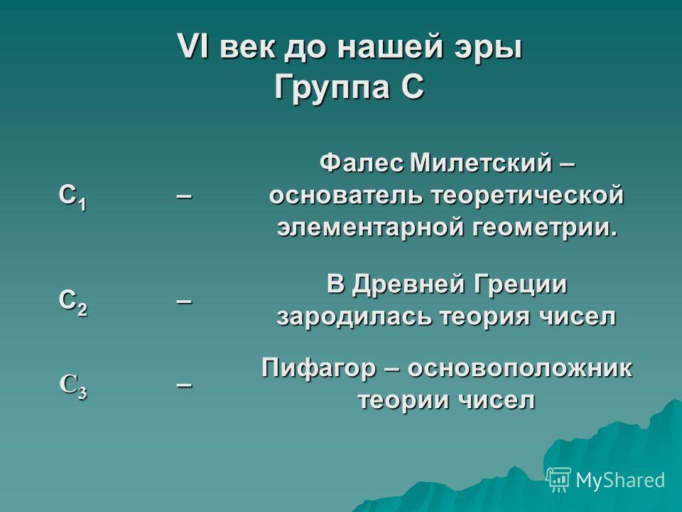 VI век до нашей эры Группа С С1С1С1С1– Фалес Милетский – основатель теоретической элементарной геометрии. С2С2С2С2– В Древней Греции зародилась теория чисел C3C3C3C3– Пифагор – основоположник теории чисел