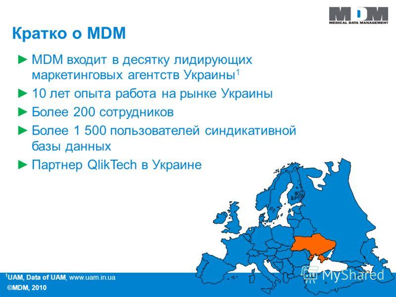 ©MDM, 2010 1 UAM, Data of UAM, www.uam.in.ua Кратко о MDM MDM входит в десятку лидирующих маркетинговых агентств Украины 1 10 лет опыта работа на рынке Украины Более 200 сотрудников Более 1 500 пользователей синдикативной базы данных Партнер QlikTech