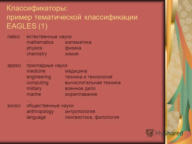 Классификаторы: пример тематической классификации EAGLES (1) natsciестественные науки mathematicsматематика physicsфизика chemistryхимия … appsciприкладные науки medicineмедицина engineeringтехника и технология computingвычислительная техника militar