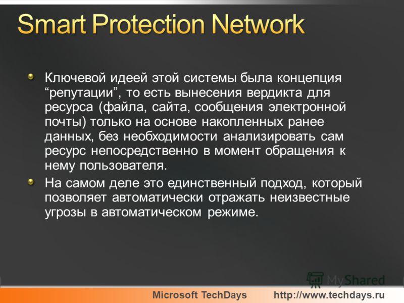 Microsoft TechDayshttp://www.techdays.ru Ключевой идеей этой системы была концепция репутации, то есть вынесения вердикта для ресурса (файла, сайта, сообщения электронной почты) только на основе накопленных ранее данных, без необходимости анализирова