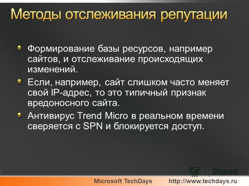 Microsoft TechDayshttp://www.techdays.ru Формирование базы ресурсов, например сайтов, и отслеживание происходящих изменений. Если, например, сайт слишком часто меняет свой IP-адрес, то это типичный признак вредоносного сайта. Антивирус Trend Micro в