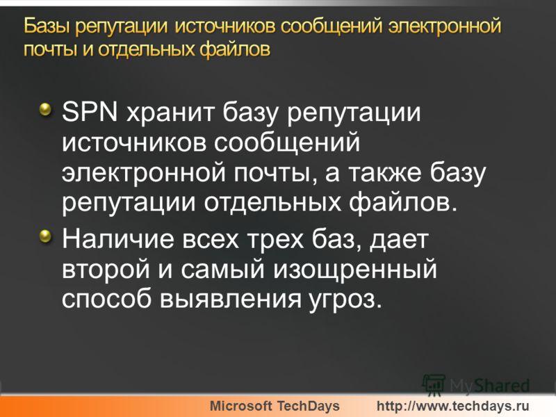 Microsoft TechDayshttp://www.techdays.ru SPN хранит базу репутации источников сообщений электронной почты, а также базу репутации отдельных файлов. Наличие всех трех баз, дает второй и самый изощренный способ выявления угроз.
