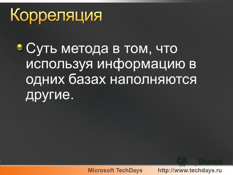 Microsoft TechDayshttp://www.techdays.ru Суть метода в том, что используя информацию в одних базах наполняются другие.