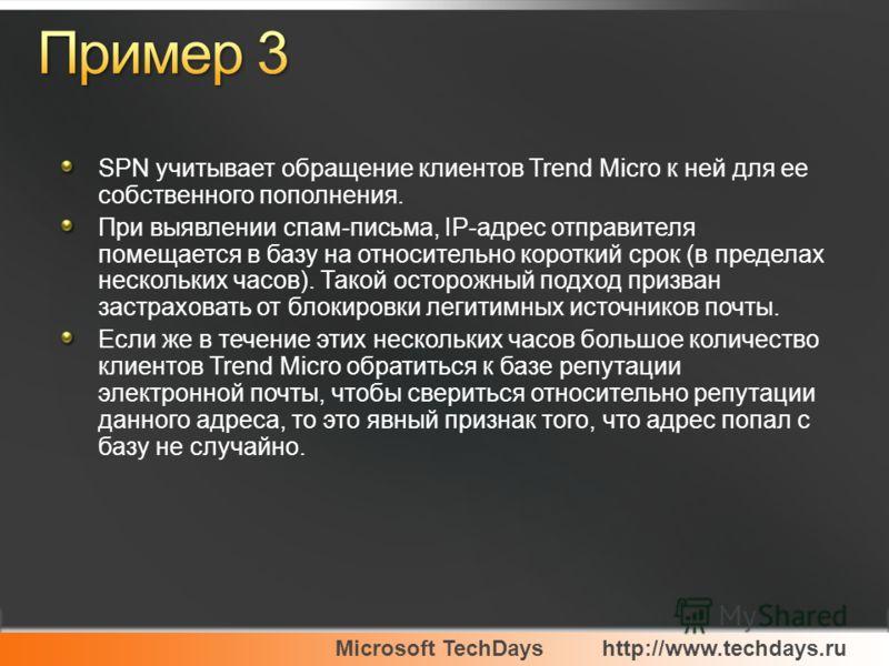 Microsoft TechDayshttp://www.techdays.ru SPN учитывает обращение клиентов Trend Micro к ней для ее собственного пополнения. При выявлении спам-письма, IP-адрес отправителя помещается в базу на относительно короткий срок (в пределах нескольких часов).