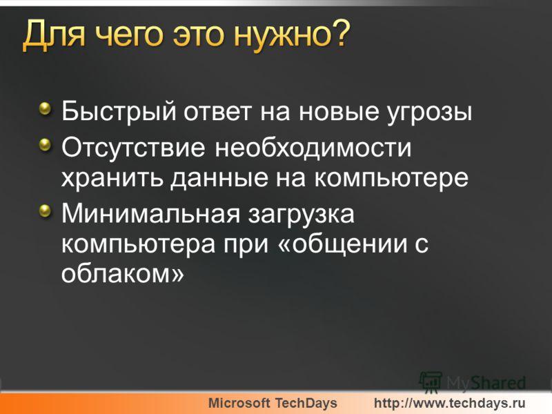 Microsoft TechDayshttp://www.techdays.ru Быстрый ответ на новые угрозы Отсутствие необходимости хранить данные на компьютере Минимальная загрузка компьютера при «общении с облаком»