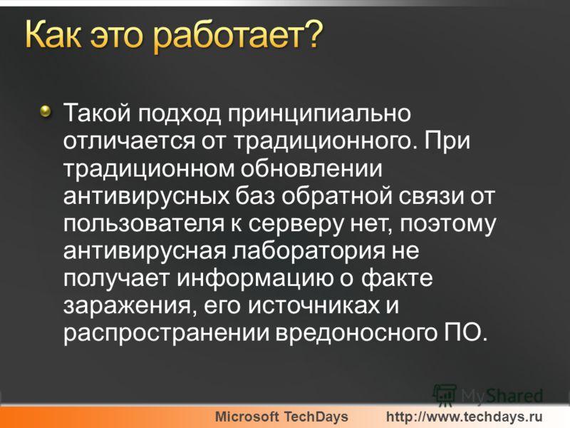 Microsoft TechDayshttp://www.techdays.ru Такой подход принципиально отличается от традиционного. При традиционном обновлении антивирусных баз обратной связи от пользователя к серверу нет, поэтому антивирусная лаборатория не получает информацию о факт