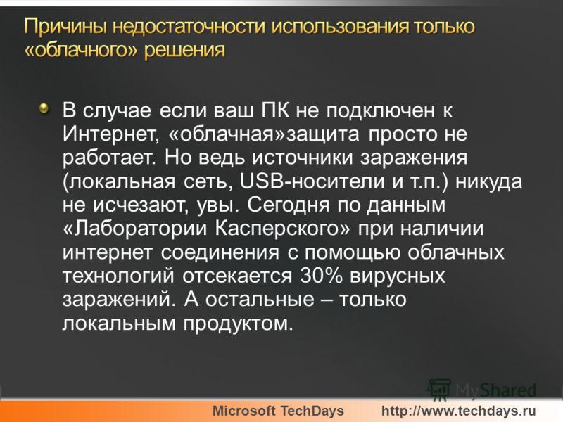 Microsoft TechDayshttp://www.techdays.ru В случае если ваш ПК не подключен к Интернет, «облачная»защита просто не работает. Но ведь источники заражения (локальная сеть, USB-носители и т.п.) никуда не исчезают, увы. Сегодня по данным «Лаборатории Касп