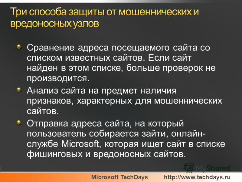 Microsoft TechDayshttp://www.techdays.ru Сравнение адреса посещаемого сайта со списком известных сайтов. Если сайт найден в этом списке, больше проверок не производится. Анализ сайта на предмет наличия признаков, характерных для мошеннических сайтов.