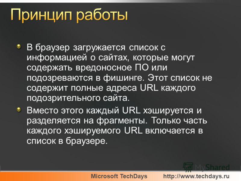 В браузер загружается список с информацией о сайтах, которые могут содержать вредоносное ПО или подозреваются в фишинге. Этот список не содержит полные адреса URL каждого подозрительного сайта. Вместо этого каждый URL хэшируется и разделяется на фраг