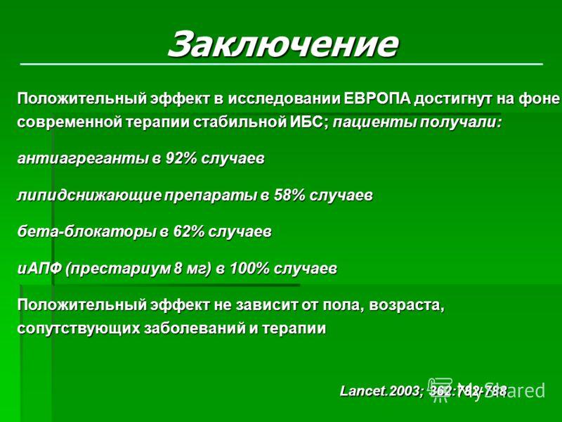 Положительный эффект в исследовании ЕВРОПА достигнут на фоне современной терапии стабильной ИБС; пациенты получали: антиагреганты в 92% случаев липидснижающие препараты в 58% случаев бета-блокаторы в 62% случаев иАПФ (престариум 8 мг) в 100% случаев