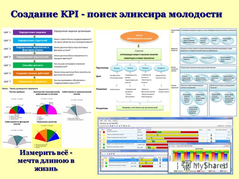 Измерить всё - мечта длиною в жизнь Создание KPI - поиск эликсира молодости