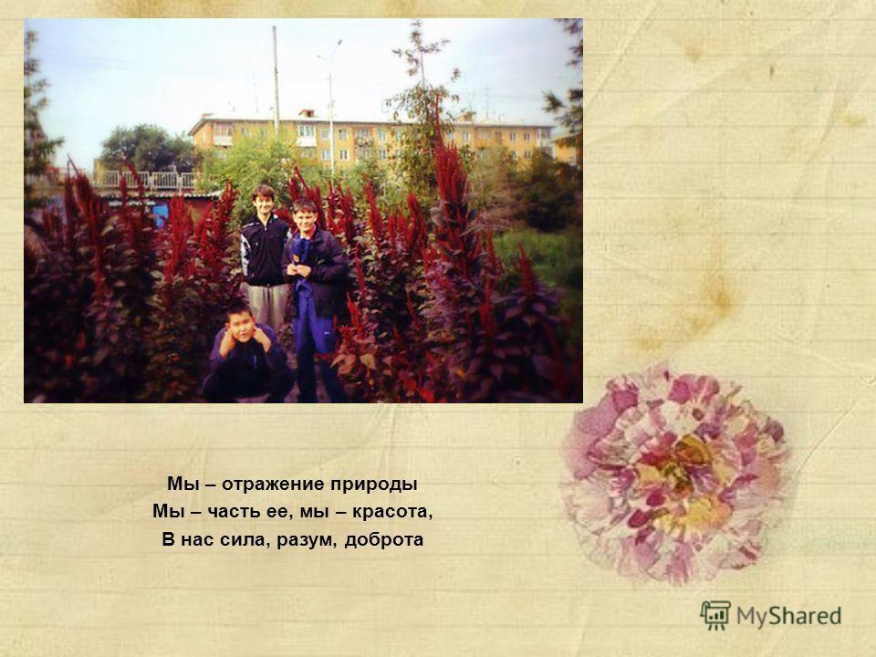 Мы – отражение природы Мы – часть ее, мы – красота, В нас сила, разум, доброта
