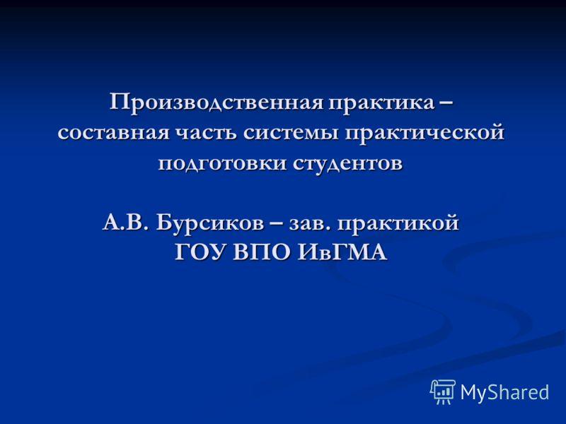 Производственная практика – составная часть системы практической подготовки студентов А.В. Бурсиков – зав. практикой ГОУ ВПО ИвГМА