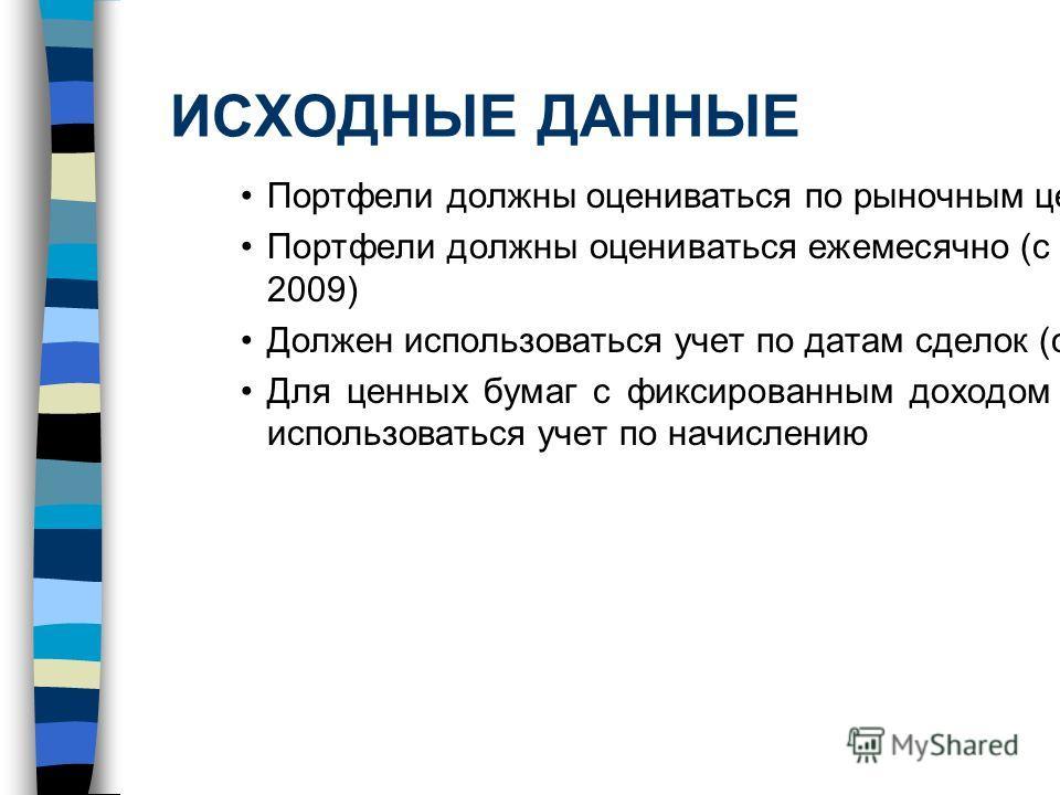 ИСХОДНЫЕ ДАННЫЕ Портфели должны оцениваться по рыночным ценам Портфели должны оцениваться ежемесячно (с 2001 по 2009) Должен использоваться учет по датам сделок (с 2005) Для ценных бумаг с фиксированным доходом должен использоваться учет по начислени