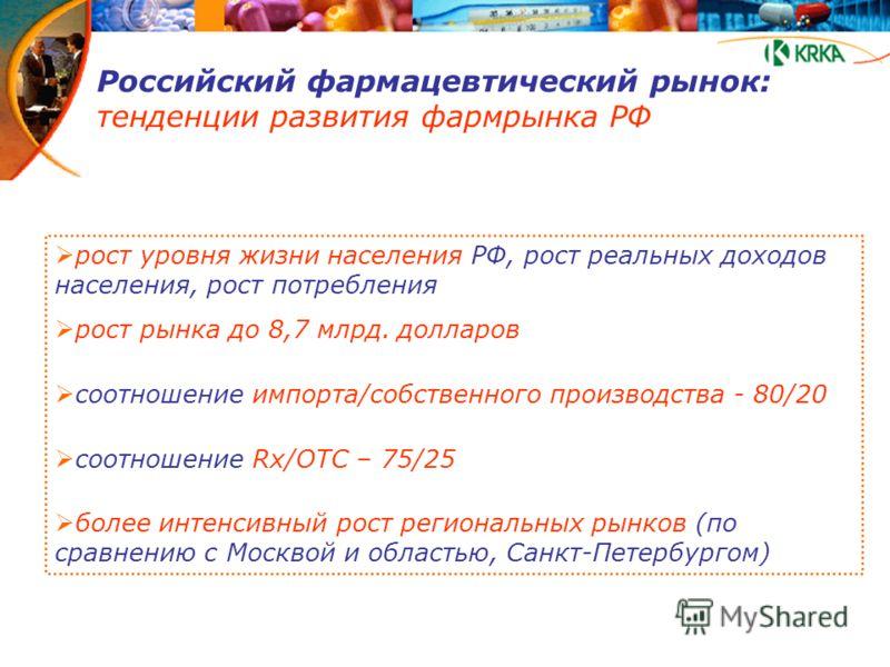 Российский фармацевтический рынок: тенденции развития фармрынка РФ рост уровня жизни населения РФ, рост реальных доходов населения, рост потребления рост рынка до 8,7 млрд. долларов соотношение импорта/собственного производства - 80/20 соотношение Rx