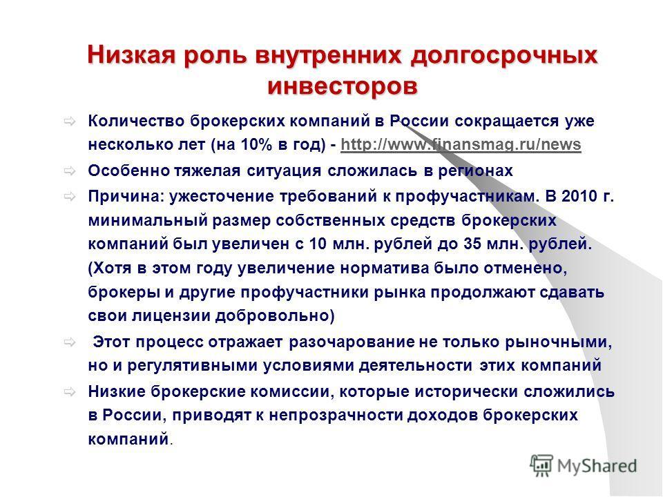 Низкая роль внутренних долгосрочных инвесторов Количество брокерских компаний в России сокращается уже несколько лет (на 10% в год) - http://www.finansmag.ru/newshttp://www.finansmag.ru/news Особенно тяжелая ситуация сложилась в регионах Причина: уже