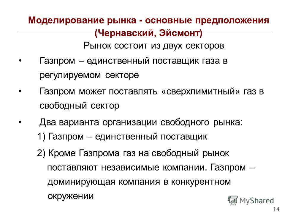 14 Моделирование рынка - основные предположения (Чернавский, Эйсмонт) Рынок состоит из двух секторов Газпром – единственный поставщик газа в регулируемом секторе Газпром может поставлять «сверхлимитный» газ в свободный сектор Два варианта организации