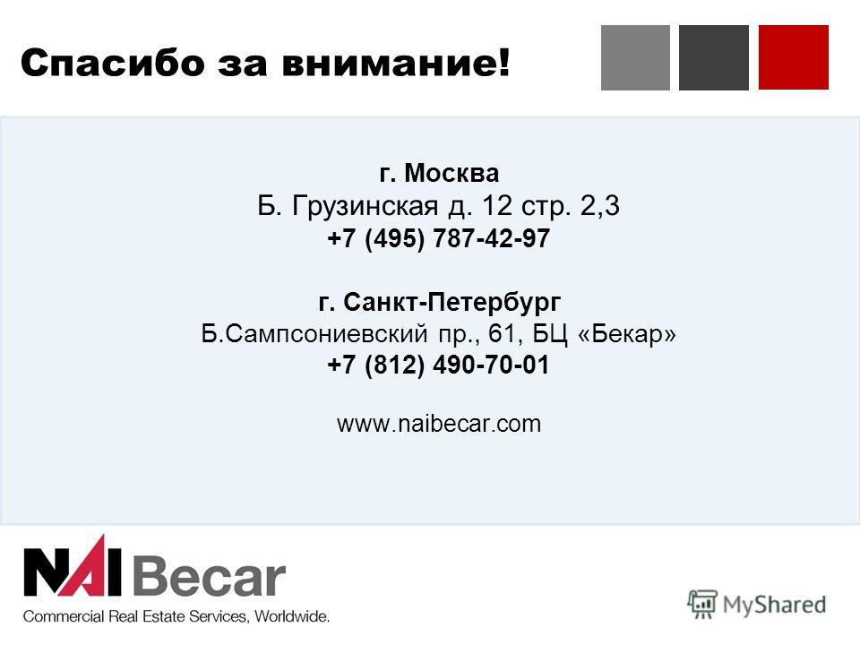 Спасибо за внимание! г. Москва Б. Грузинская д. 12 стр. 2,3 +7 (495) 787-42-97 г. Санкт-Петербург Б.Сампсониевский пр., 61, БЦ «Бекар» +7 (812) 490-70-01 www.naibecar.com