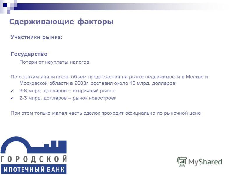 Участники рынка: Государство Потери от неуплаты налогов По оценкам аналитиков, объем предложения на рынке недвижимости в Москве и Московской области в 2003г. составил около 10 млрд. долларов: 6-8 млрд. долларов – вторичный рынок 2-3 млрд. долларов –