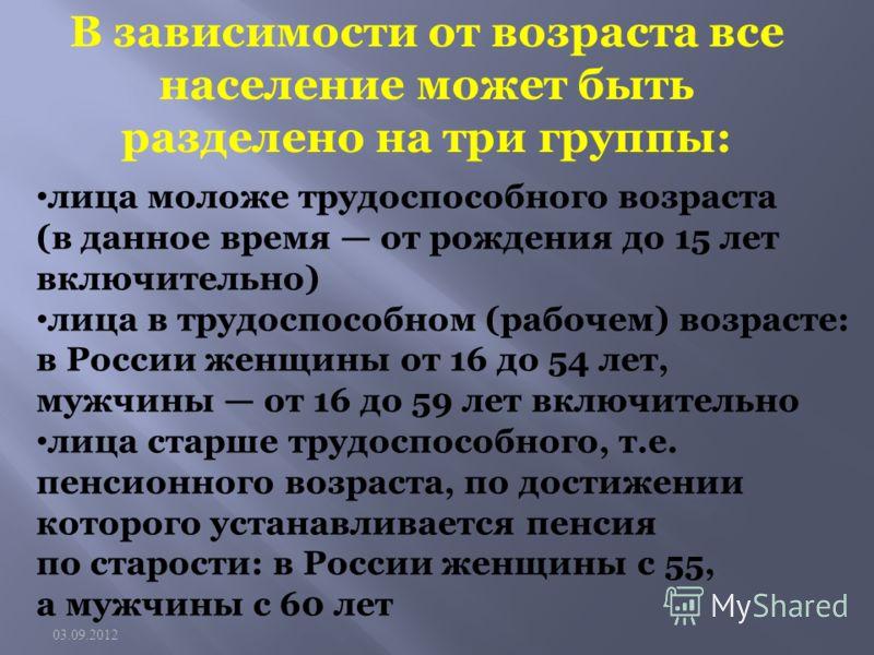 лица моложе трудоспособного возраста (в данное время от рождения до 15 лет включительно) лица в трудоспособном (рабочем) возрасте: в России женщины от 16 до 54 лет, мужчины от 16 до 59 лет включительно лица старше трудоспособного, т.е. пенсионного во
