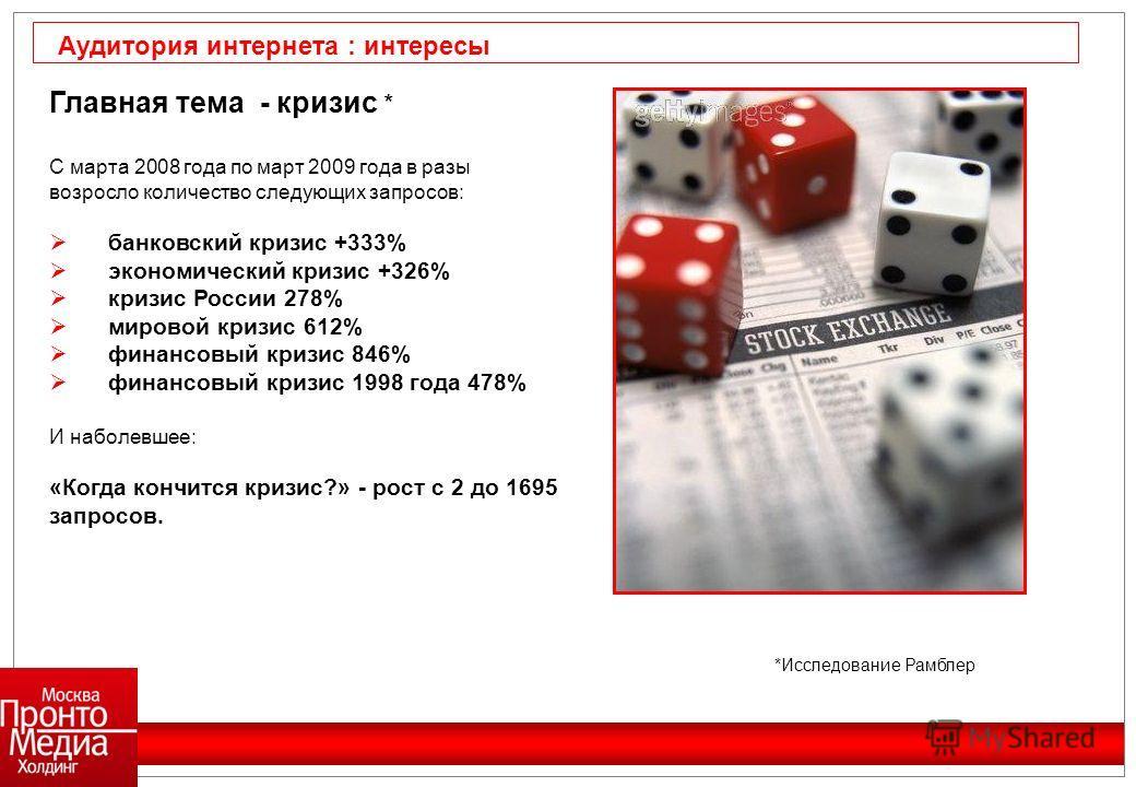 Главная тема - кризис * С марта 2008 года по март 2009 года в разы возросло количество следующих запросов: банковский кризис +333% экономический кризис +326% кризис России 278% мировой кризис 612% финансовый кризис 846% финансовый кризис 1998 года 47