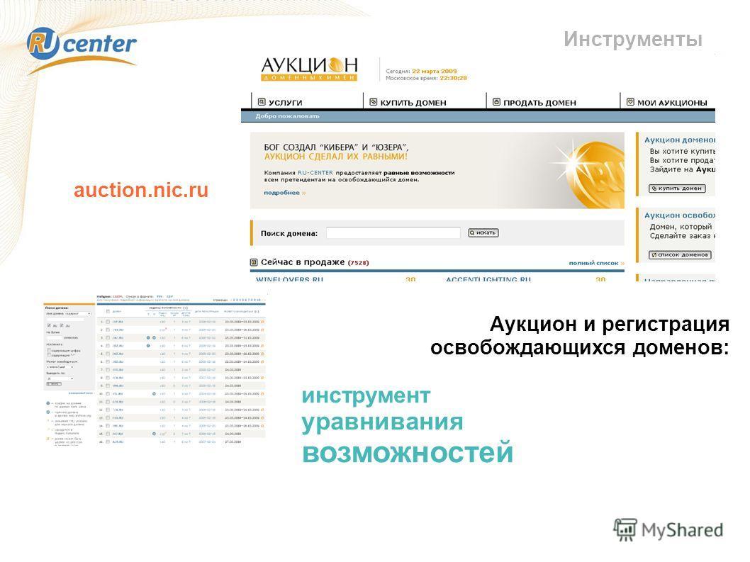Инструменты Аукцион и регистрация освобождающихся доменов: инструмент уравнивания возможностей auction.nic.ru