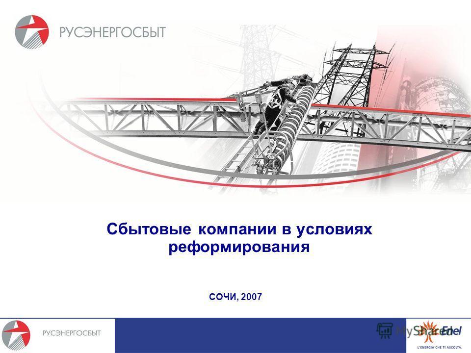 Сбытовые компании в условиях реформирования СОЧИ, 2007