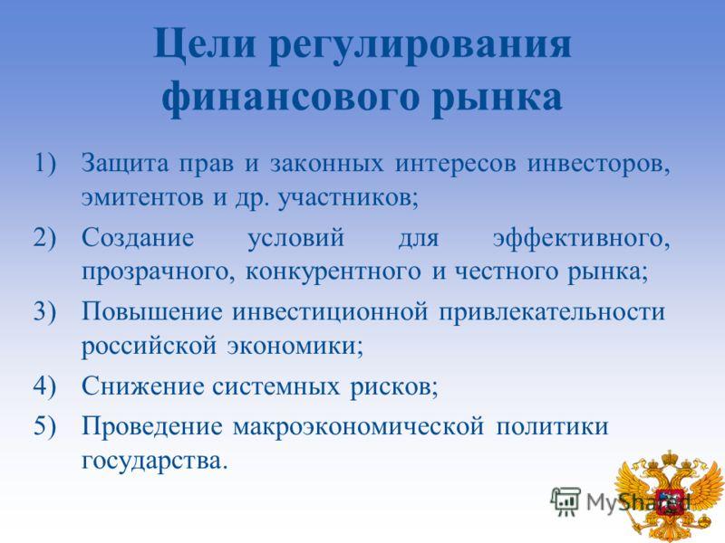 1)Защита прав и законных интересов инвесторов, эмитентов и др. участников; 2)Создание условий для эффективного, прозрачного, конкурентного и честного рынка; 3)Повышение инвестиционной привлекательности российской экономики; 4)Снижение системных риско
